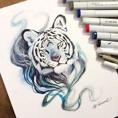 "deviantart: ""Smokey Tiger"" by @katy_lipscomb on #DeviantArt  #TraditionalArt #Copic"