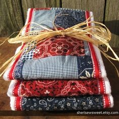 Red, White & Blue Burp Cloths