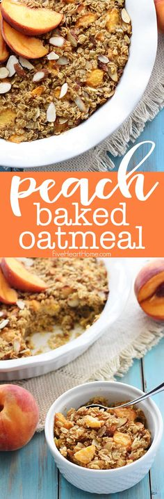 Peach Baked Oatmeal ~ this wholesome and delicious recipe is bursting with healthy, real food ingredients for a make-ahead breakfast that w. Healthy Breakfast Choices, Make Ahead Breakfast, Healthy Breakfast Recipes, Brunch Recipes, Healthy Desserts, Healthy Brunch, Healthy Breakfasts, Healthy Baking, Breakfast Ideas