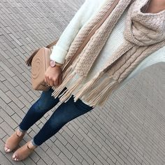 cable knit tassel scarf, scallop hem sweater, Gucci soho disco bag, Steve Madden Claara sandals, Petite skinny ankle jeans, fall fashion, neutral outfits - click the photo for outfit details!