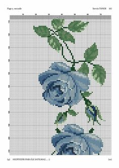 Cross Stitch Heart, Cross Stitch Borders, Cross Stitch Flowers, Counted Cross Stitch Patterns, Hobbies And Crafts, Diy And Crafts, Blue Flowers, Red Roses, Prayer Rug