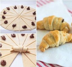 Essen These croissants are quick and easy to make, and perfectly flaky and Nutella-licious. Nutella Croissant, Breakfast Croissant, Chocolate Croissants, Chocolate Hazelnut, Chocolate Croissant Recipe, Nutella Puff Pastry, Nutella Breakfast, Mini Croissants, Baking Recipes