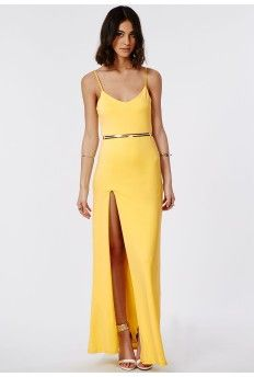 Vikonda Yellow Crepe Cami Split Front Maxi Dress