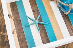 DIY coastal beach decor tray featured at Knick of Time's Talk of the Town Link Party