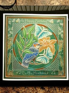Ive used the bird and butterfly round plate in the center on plain parchment. Clarity Card, Parchment Cards, Husband Birthday, Projects To Try, Butterfly, Plates, Crafty, Bird, Facebook