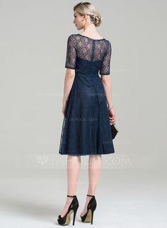 A-Line/Princess Scoop Neck Knee-Length Lace Mother of the Bride Dress (008085308)