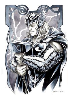 Thor, in Daniel Govar's Marvel Comic Art Gallery Room Marvel Comics Art, Marvel Heroes, Marvel Characters, Marvel Avengers, Comic Books Art, Comic Art, Thor Tattoo, Female Thor, Lady Loki