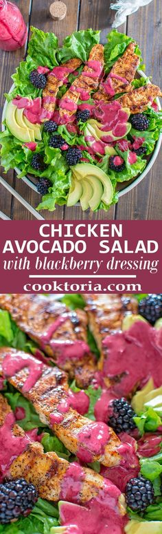 Scrumptious combination of grilled paprika chicken, creamy avocados combined with fresh lettuce, blackberries and topped with tangy blackberry dressing. This Chicken Avocado Salad makes a perfect and filling lunch! ❤ http://COOKTORIA.COM