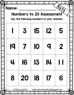 Back to School Assessments (Kindergarten) by Kathryn Watts Preschool Assessment Forms, Math Assessment, Preschool Learning Activities, Kindergarten Classroom, Numbers Kindergarten, Number Activities, Beginning Of School, Pre School, Back To School