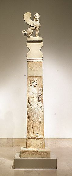 Marble stele (grave marker) of a youth and little girl with capital and finial in the form of a sphinx Period:Archaic Date:ca. 530 B. Culture:Greek, Attic Medium:Marble Dimensions:total H. Ancient Greek Art, Ancient Greece, Ancient History, Art History, Le Sphinx, Roman Art, Ancient Artifacts, Ancient Civilizations, Metropolitan Museum