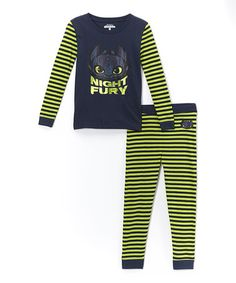 Look what I found on #zulily! Green & Navy 'Night Fury' Pajama Set - Boys #zulilyfinds
