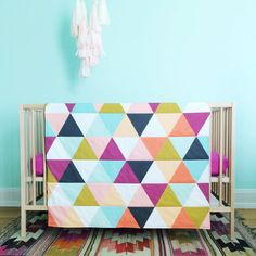 My favorite!! With navy and mint green instead of lime green. This would be awesome on our bed.