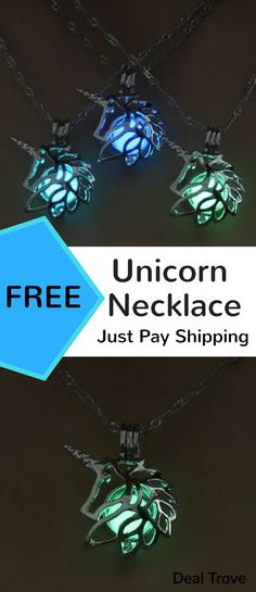 This free glow-in-the-dark unicorn necklace is great for anyone who loves unicorns or just loves wearing jewellery that's as stunning and as unique as this. Just wear the necklace during the day so the glow bead inside can absorb the sunlight and then watch it glow when it gets dark! Just click on the image above so you can wear your own. :D