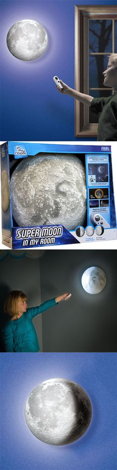 Super Moon In My Room - Illuminate your children's bedroom with this vivid and realistic moon. It attaches to any wall and features a built-in lunar clock that matches the current phase of the moon, all controlled by remote control.