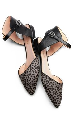 Animal Print Ankle Strap Flats
