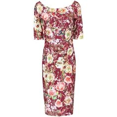 Jolie Moi Floral Half Sleeve Ruched Dress, Burgundy ($46) ❤ liked on Polyvore featuring dresses, long-sleeve floral dresses, red dress, red floral dress, sleeved maxi dress and red midi dress