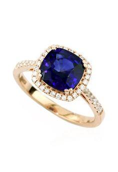 Gemma 14K Rose Gold Blue Sapphire and Diamond Ring