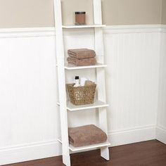 Hawthorne Bathroom Wood Ladder Linen Tower, White. In the closet for shoes, towels, or baskets full of underwear and bras... $25.00