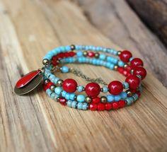 Bracelet bohème turquoise et rouge