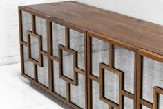 """St. Tropez Credenza in Walnut and Antique Glass LOVE but too short 26"""""""