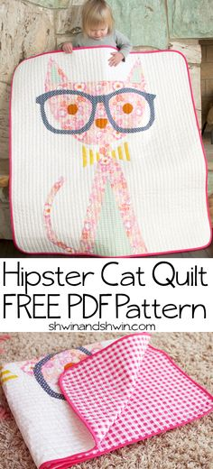 "Cute ""Hipster Cat"" quilt (and free PDF pattern) by Shauna Wightman of Shwin & Shwin.Pattern available here: Quilting Tutorials, Quilting Projects, Quilting Designs, Sewing Projects, Quilting 101, Diy Projects, Sewing Blogs, Sewing Tutorials, Quilt Baby"