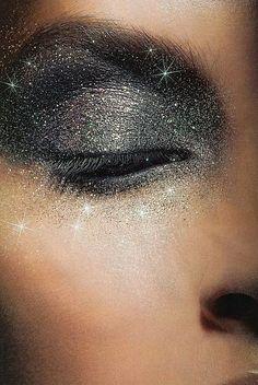 Silver glitter eyes, metallic eye makeup