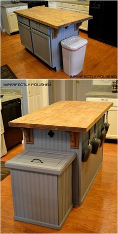 DIY Trash Can Cover-Smart Ways to Hide Your Trash Can #Kitchen. #Furniture --> http://www.diyhowto.org/diy-trash-can-cabinet-projects/