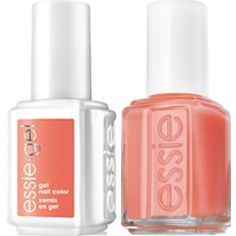 Matching set of Essie Gel & Lacquer - Pansy. For a professional and long lasting manicure with a perfectly matched pedicure Essie Gel Polish, Gel Nails, Nail Polishes, Pink Gloves, Nail Set, Pansies, Pedicure, Peach, Tart
