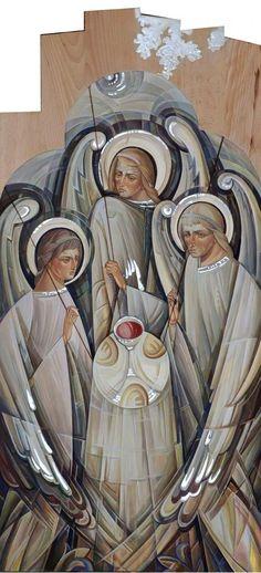 Holy Trinity by Natalya Rusetska Byzantine Art, Byzantine Icons, Christian Symbols, Christian Art, Religious Icons, Religious Art, Pictures Of Christ, Religious Paintings, Catholic Art