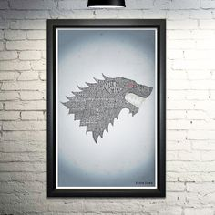 """Game of Thrones Stark word art print, 11x17. This print is made entirely out of words! The image shows the House Stark banner formed with their house words, names of the house members, and their quotes. When you purchase this print, you'll be finding more of your favorite quotes and scenes for hours. This is an 11x17"""" image printed on archival quality paper. Please note this is a print only, unframed."""