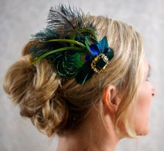 Moss Green Emerald Green Wedding Hair Accessories Peacock Feather Bridal Head Piece Fascinator