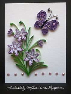 handmade card ... quilled purple flowers & a purple butterfly... sweet!!  I have the beads for this :)