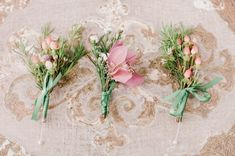 Pink and Peach Boutonnieres