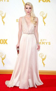 Emma Roberts from 2015 Emmys: Red Carpet Arrivals  In Jenny Packham with a Lee Savage clutch and Martin Katz jewelry