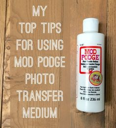Have you ever used Mod Podge photo transfer medium? It's a great formula – one of my Mod Podge-y favorites. It's also one of the formulas that I get the most questions about, so I thought I'd share so