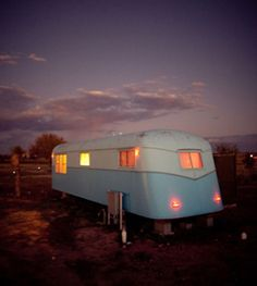 One of the vintage trailers (and tepees and safari tents) for rent at El Cosmico in Marfa. Vintage Caravans, Vintage Travel Trailers, Vintage Campers, Retro Trailers, Retro Campers, Vintage Airstream, Happy Campers, Airstream Rv, Airstream Living