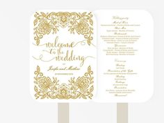 Wedding Fan Program | Editable MS Word Template DIY | Lace Gold and White