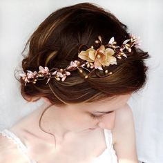 Pink and Gold Wedding Circlet Bridal Hair Piece Flower Hair Wreath... ($85) ❤ liked on Polyvore featuring accessories, hair accessories, hair, buns, circlet, jewelry, grey, weddings, artificial flower garlands and gold leaf hair accessories
