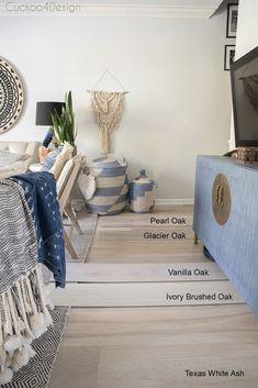 Cheap Home Decor Comparing light-colored wood vinyl flooring samples Karndean Flooring, Vinyl Plank Flooring, Wood Planks, Wood Flooring, Kitchen Flooring, Living Room Flooring, Bedroom Flooring, Living Room Decor, Affordable Home Decor