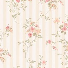 Miniatures Laurie Floral Stripe Wallpaper in Peach, Berry and Green Wallpaper Stores, Print Wallpaper, Iphone Wallpaper, Shabby Chic Wallpaper, Flower Backgrounds, Vintage Floral Backgrounds, Printable Scrapbook Paper, Free Art Prints, Striped Wallpaper