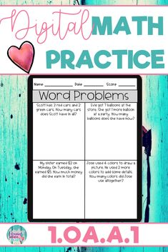 These math practice sheets allow your students to practice and gain mastery of the first grade standard 1.OA.A.1; Solving Word Problems Within 20. Created in Google Slides, this resource can be used in the classroom or at home for distance learning. These worksheets can also be used as an assessment tool so that you can move your instruction forward, tailor your students' instruction to their developmental level, provide feedback to your students, and use for grading. Click to see more!