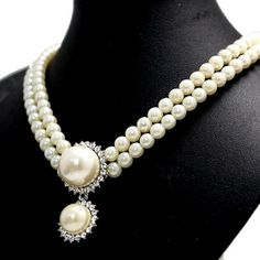 Generous Banquet Party Imitated Pearl Crystal Earring  Necklace Set NS1954A