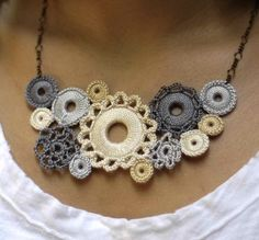 Crocheted Bib Necklace. Gorgeous.