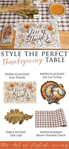 Luxury Dining & Kitchen Home Decor - Placemats & Paper Products Thanksgiving Blessings, Thanksgiving Crafts, Thanksgiving Decorations, Fall Crafts, Holiday Crafts, Holiday Fun, Christmas Tablescapes, Holiday Tables, Kids Crafts