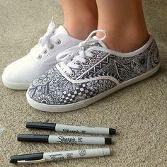 canvas shoes zentangled | Zentangle Sneakers | zentangle # zentangle art # zentangle doodle ...
