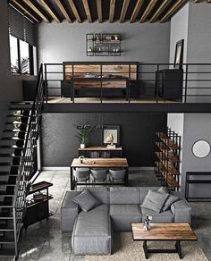 Loft Interior Design, Loft Design, Home Room Design, Interior Architecture, Living Room Designs, Casa Loft, Loft House, House Rooms, Cool House Designs