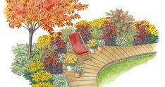 Im September stehen die Dahlien in voller Blüte: Mit dieser Gartenidee schaffen Sie sich einen Sitzplatz am Holzdeck, der im Spätsommer seine ganze Pracht entfaltet.