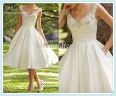 Wholesale Tea Length 2013 V Neck Beads Sequins Satin A-Line Wedding Bridal Dress Dresses Gowns With Pocket, Free shipping, $144.48-159.04/Piece | DHgate#s1-2-ff8080813d6edb5e013db1b0ec3913a6