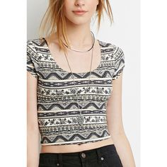 Forever 21 Floral Tribal Print Crop Top ($8.90) ❤ liked on Polyvore featuring tops, forever 21 tops, short sleeve crop top, stripe crop top, white tops and tribal top