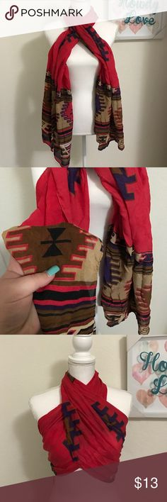 🆕Scarf/Crop top Thank you for stopping by   Item description:  beautiful Aztec scarf long and thick can make into a top      Brand: Unbranded    Size: it's a big scarf!:)  No trades🚫 No low balling🚫 Please be respectful💯 Remember to follow for more great items!✅ Accessories Scarves & Wraps